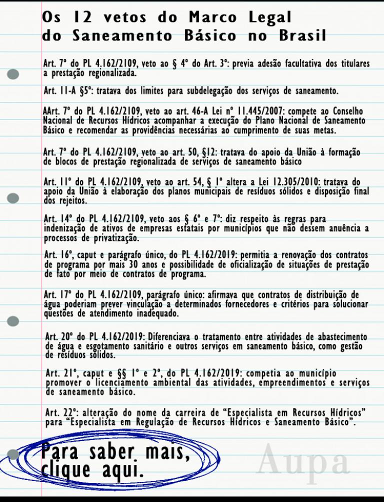 Os 12 vetos do Marco Legal do Saneamento Básico no Brasil - crédito: Equipe de Arte Aupa.