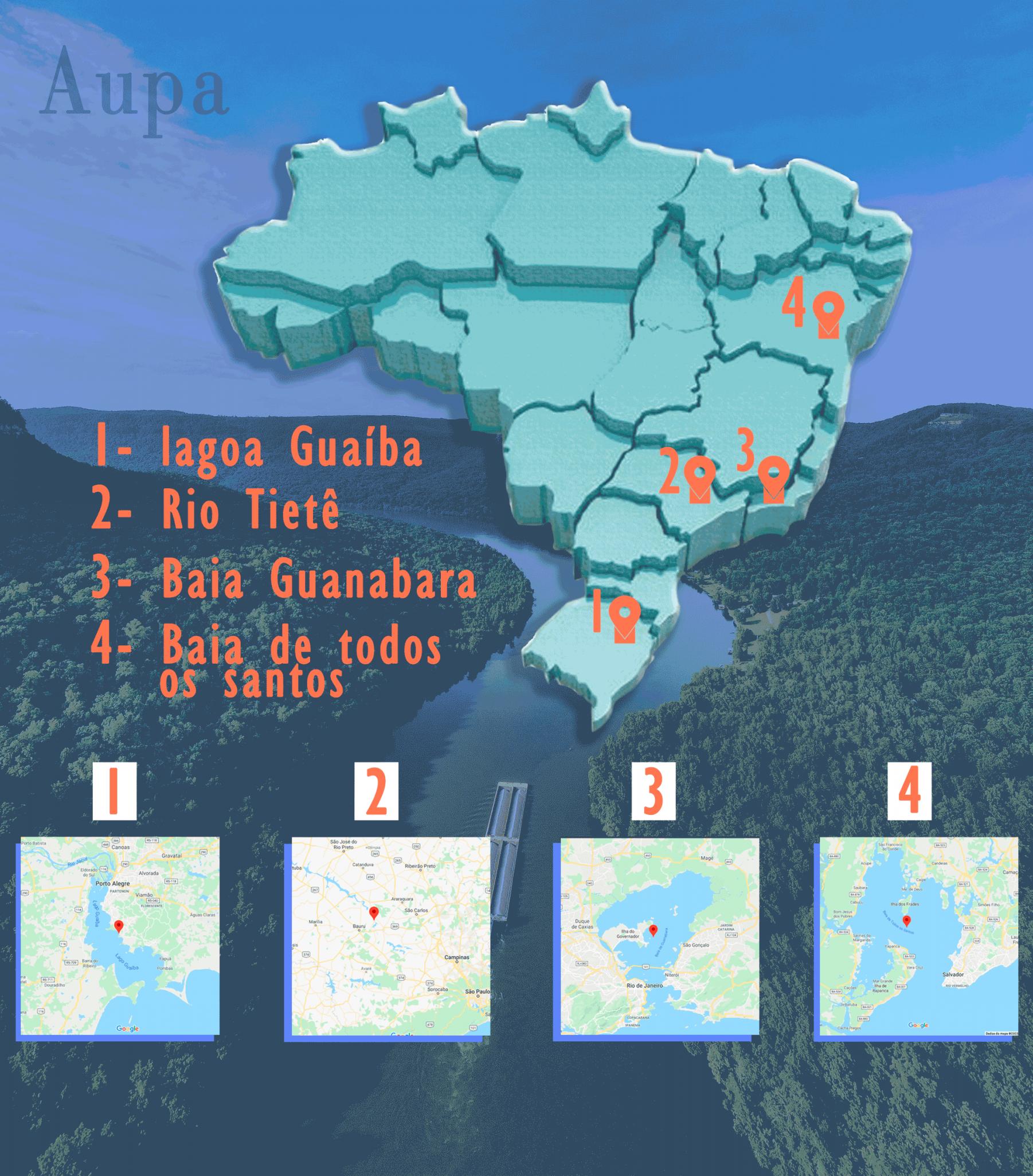 Mapa Rio Tietê, da Baía de Guanabara, da Baía de Todos-os-Santos e o Lago Guaíba. Crédito: Equipe de Arte Aupa